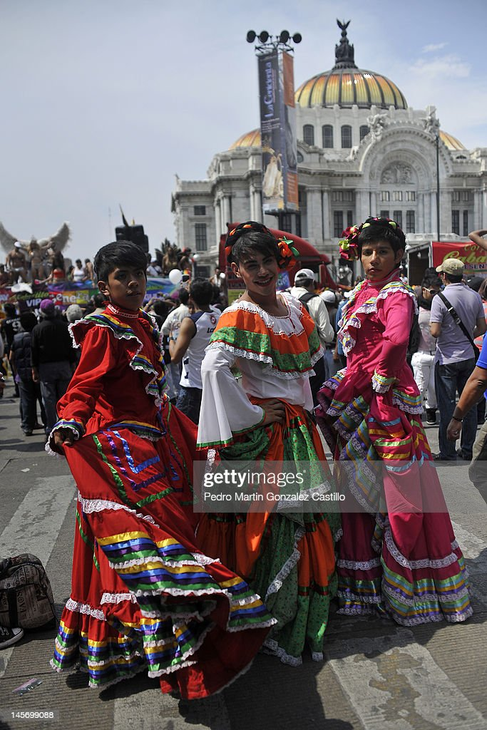 Activists pose for a photograph in a march for Sexual Diversity on 02 June in Mexico City, Mexico.