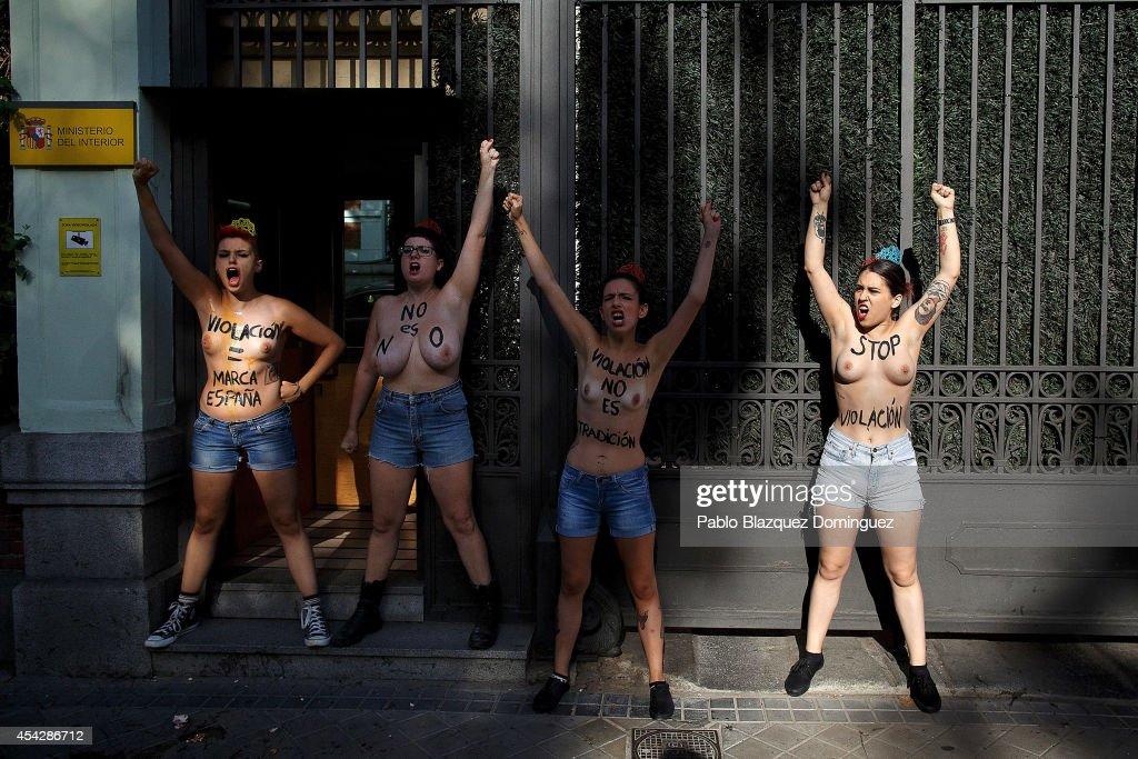 FEMEN Protest Against Rape Cases in Spain : News Photo