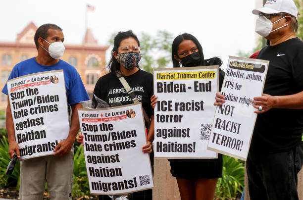 CA: Activists In Los Angeles Protest Against Treatment Of Haitian Migrants At Southern Border