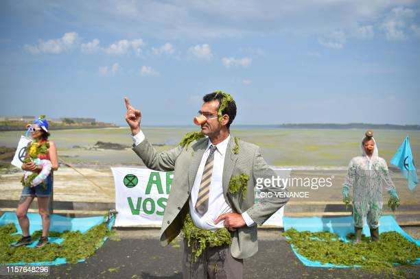 TOPSHOT Activists protest against toxic seaweeds in front of the Vallais beach covered with toxic green algae in SaintBrieuc northwestern France on...