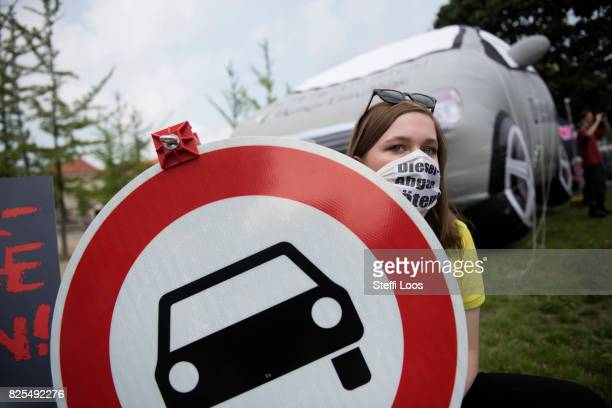 Activists protest in front of Federal Ministry of Transport and Digital Infrastructure in prior of Diesel Conference on August 2 2017 in Berlin...