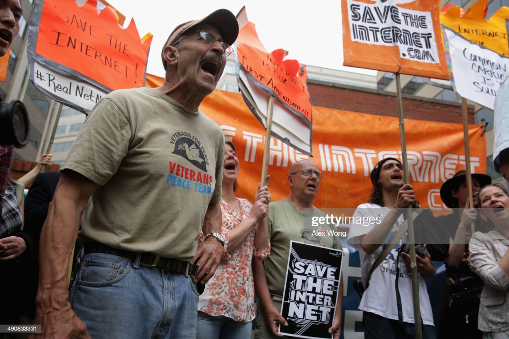 Activists Rally At FCC Headquarters In Support Of Net Neutrality : News Photo