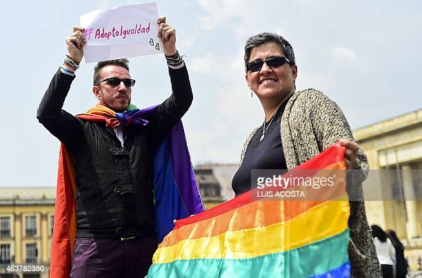 Activists protest outside the Supreme Court of Justice in Bogota demanding the legalization of the adoption of children by samesex couples on...