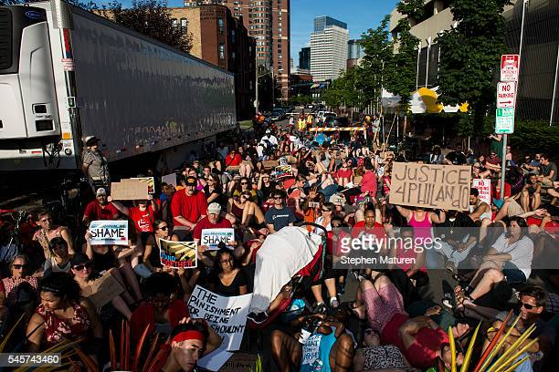 Activists protest the death of Philando Castile on July 9 2016 in downtown Minneapolis Minnesota Protestors were blocked from entering the Basilica...
