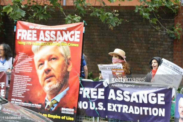 Activists protest UK government for imprisonment in London and possible extradition of Julian Assange to US before the Global Conference on Press...
