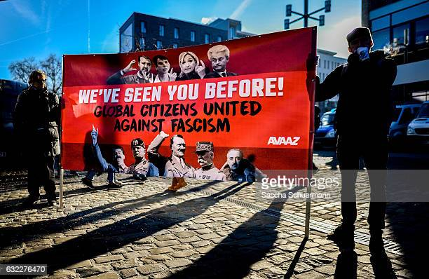 Activists protesting against a conference of European rightwing parties gather in the city center on January 21 2017 in Koblenz Germany In an event...