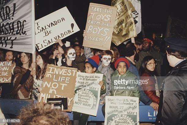 Activists protesting at US involvement in El Salvador New York City April 1987