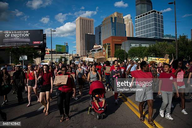 Activists protesting the death of Philando Castile on July 9 2016 in downtown Minneapolis Minnesota Castile was shot and killed by police on July 6...