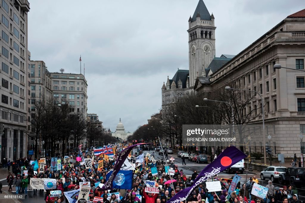 Activists protesting the Keystone XL Pipeline during the ...