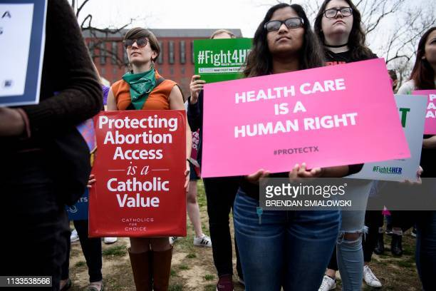 Activists rally in Lafayette Square to protest the Trump administration's global gag rule on NGOs March 29 2019 in Washington DC The socalled global...
