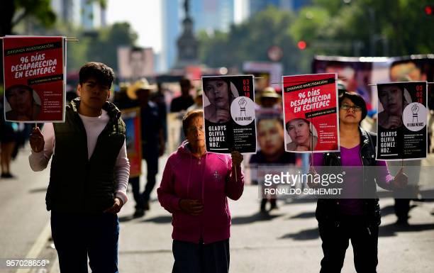 Activists relatives and mothers of missing people march to demand the Mexican government answers about their loved ones whereabouts as part of the...
