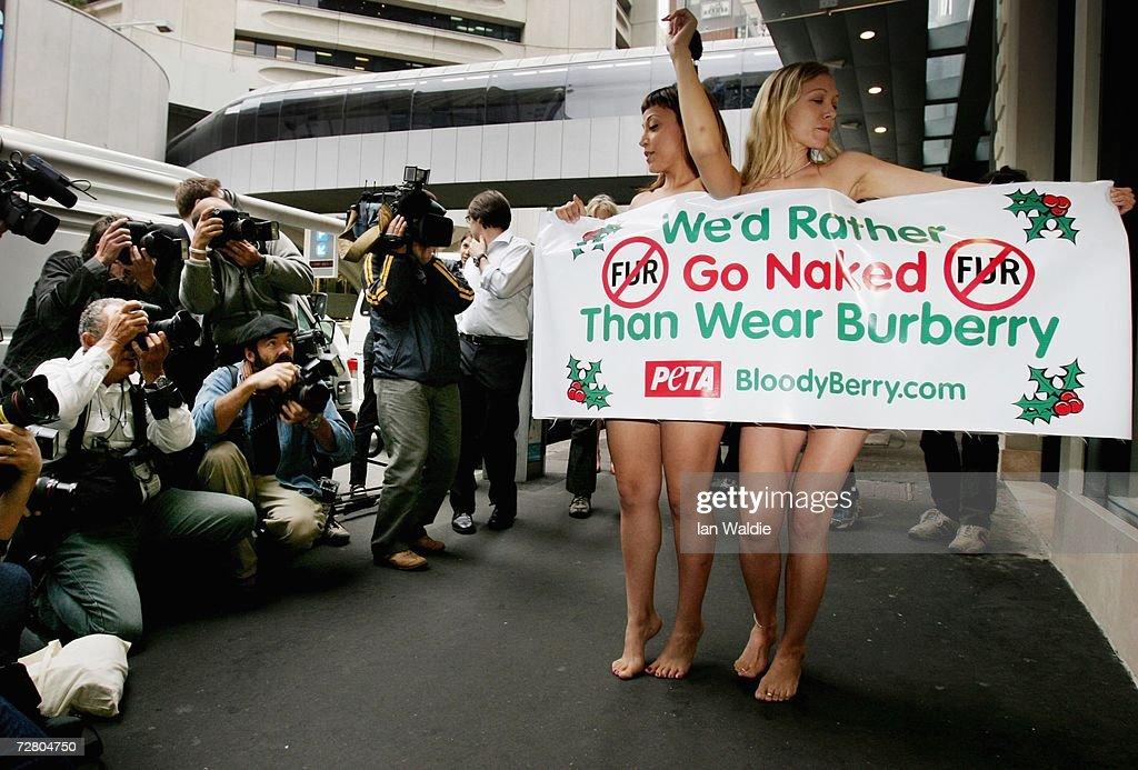 PETA Stage Nude Protest Over Fur Sales : News Photo