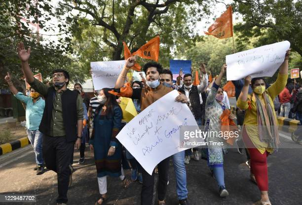 ABVP activists shout slogans against the Maharashtra Government on the arrest of Republic TV EditorInChief Arnab Goswami on November 5 2020 in New...