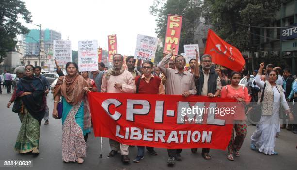 CPIML activists shouts slogan during the protest against the killing of a Muslim Labor Afrazul Khan from Malda West Bengal at Rajnagar Rajasthan in...