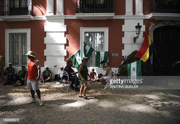 Activists sitin designed to draw attention to the economic situation and revenue disparity in Spain on a property belonging to the Duke of Moratalla...