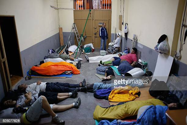 Activists sleep during the permanent camping in Ofelia Nieto 29 building in tetuan Madrid Hundreds of activists and neighbors spend the night and...