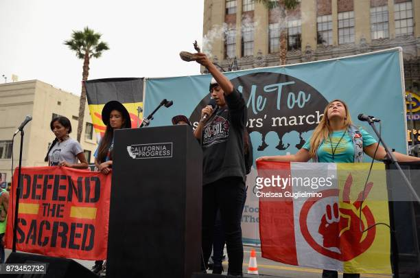 Activists speak at the #MeToo Survivors March Rally on November 12 2017 in Hollywood California