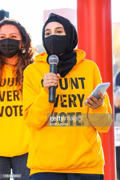 Activists speak during the Count Every Vote Rally on November 07, 2020 in Detroit, Michigan.