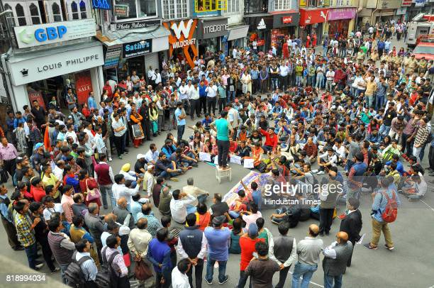 ABVP activists stage a protest at Mall road after the death of an accused of rape and murder of teenage girl in police custody on July 19 2017 in...