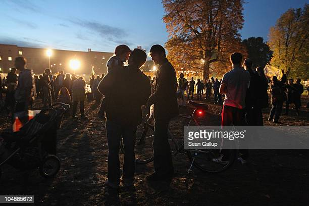 Activists stand in the Schlosspark next to Hauptbahnhof train station on October 6 2010 in Stuttgart Germany Approximately 300 trees and a portion of...