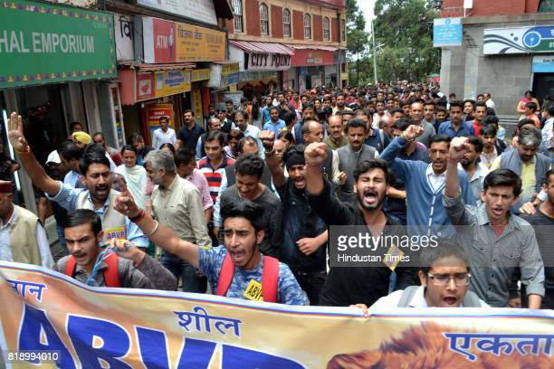 ABVP activists take out a rally at Mall road after the death of an accused of rape and murder of teenage girl in police custody on July 19 2017 in...