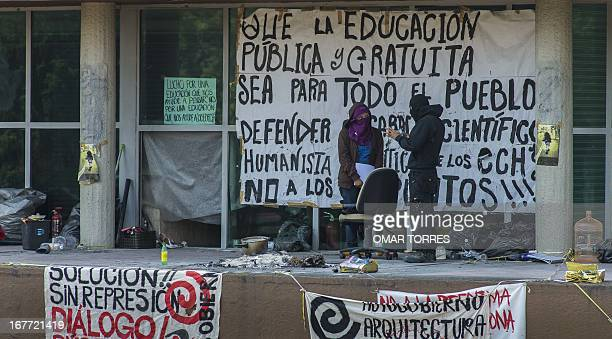 Activists who defined themselves as students from the College of Sciences and Humanities of the Autonomous University of Mexico occupy the...