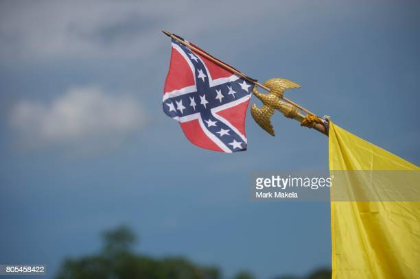 Activists with Confederate flags gather at the Gettysburg National Military Park on July 1 2017 in Gettysburg Pennsylvania The US Park Service issued...