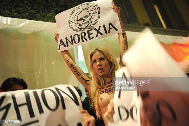 Activists with the feminist movement FEMEN protest during the Milan Womenswear Fashion Week on February 24 2012 in Milan Italy FEMEN is a Kievbased...