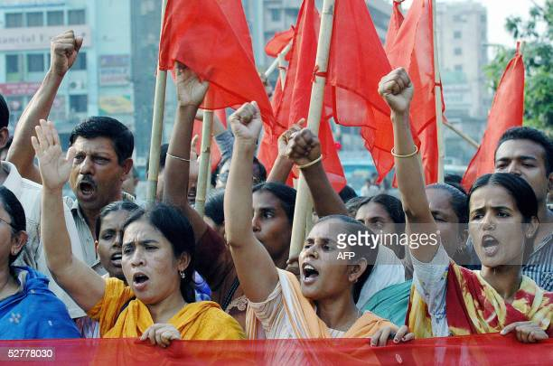 Activits of the Bangladesh National Garment Workers Association chant slogans during a demonstration in Dhaka, 09 May 2005. Hundreds of activists...