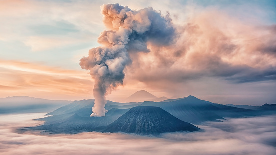 Activity at Mount Bromo in the early morning 891344880