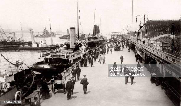 Activity at Princes Landing Stage at Liverpool Docks circa 1910