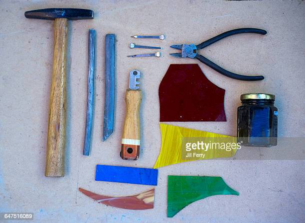 activity flat lay - glass cutter stock photos and pictures