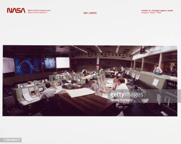 Activity in the mission operations control rooms of the Johnson Space Center's mission control center during STS-3, Hosuton, Texas, US, 24th March...
