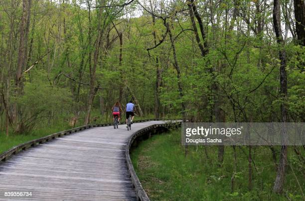 activity on the towpath, cuyahoga valley national park, akron, ohio, usa - cuyahoga river stock photos and pictures