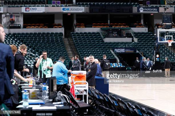 Activity takes place courtside following the cancellation of the Big Ten Men's Basketball Tournament due to concerns over the Coronavirus at Bankers...