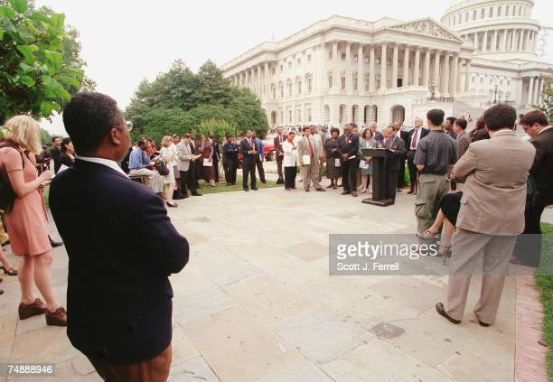 ACTLuis V Gutierrez DIll speaking and members of the Congressional Black Caucus and the Hispanic Caucus during a relatively sparsely attended news...