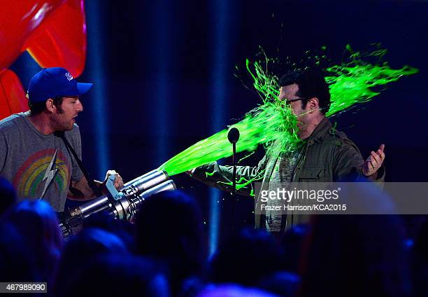 Actoirs Josh Gad and Adam Sandler at the Nickelodeon's 28th Annual Kids' Choice Awards at The Forum on March 28 2015 in Inglewood California