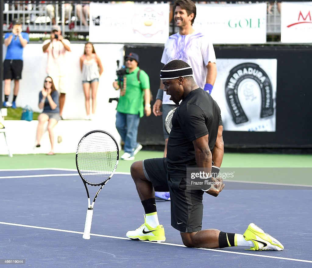Actokevin Hart and tennis pro, Fernando Verdasco,play tennis at the 11th Annual Desert Smash Hosted By Will Ferrell Benefiting Cancer For College at La Quinta Resort and Club on March 10, 2015 in La Quinta, California.