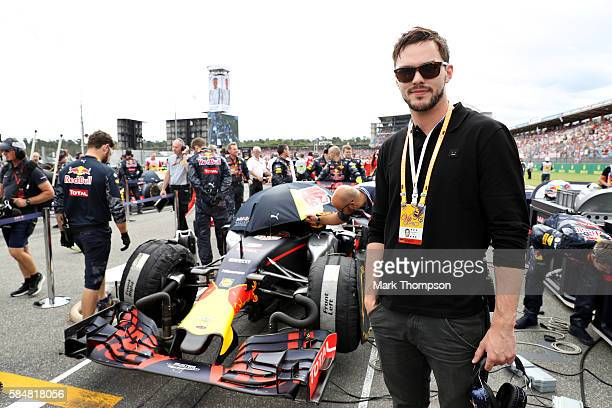 Acton Nicholas Hoult on te grid with Red Bull Racing during the Formula One Grand Prix of Germany at Hockenheimring on July 31 2016 in Hockenheim...