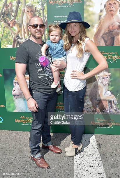 Actor A J Buckley daughter Willow Phoenix Buckley and Abigail Ochse attend the world premiere Of Disney's Monkey Kingdom at Pacific Theatres at The...
