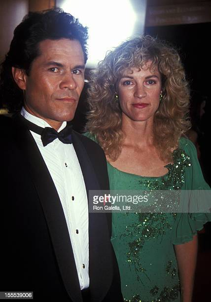 Actor A Martinez and wife Leslie Bryans attend the 19th Annual Daytime Emmy Awards on June 23 1992 at Sheraton NY Hotel Towers in New York City