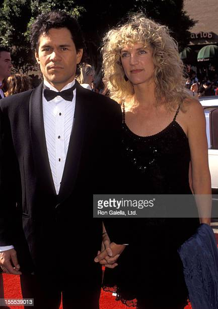 Actor A Martinez and wife Leslie Bryans attend the 44th Annual Primetime Emmy Awards on August 30 1992 at Pasadena Civic Auditorium in Pasadena...
