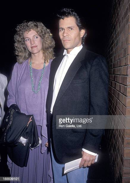 Actor A Martinez and wife Leslie Bryans attend the Powwow Highway West Hollywood Premiere on February 23 1989 at DGA Theatre in West Hollywood...