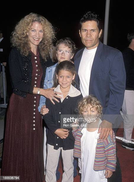 Actor A Martinez wife Leslie Bryans and kids attend The Lion King II Simba's Pride Westwood Premiere on October 20 1998 at Wadsworth Theatre in...