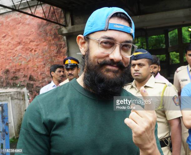 Actor Aamir Khan cast his vote at the Maharastra State Assembly Election on October 21, 2019 in Mumbai, India.