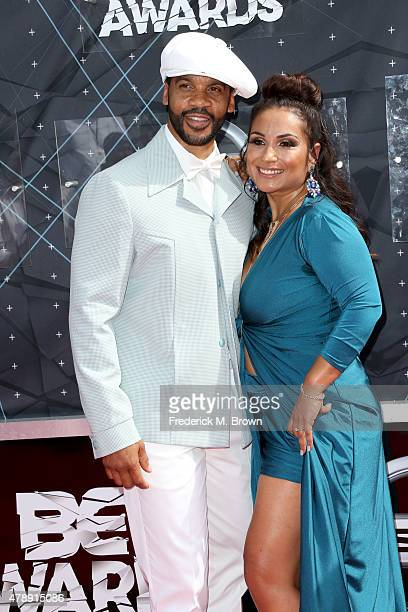 Actor Aaron D Spears and Estela Lopez Spears attend the 2015 BET Awards at the Microsoft Theater on June 28 2015 in Los Angeles California
