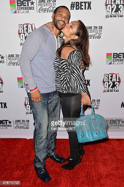 Actor Aaron D Spears and Estela Lopez Spears attend the BETX Late Night after party with Marcellus Wiley and Jermaine Dupri during the 2015 BET...