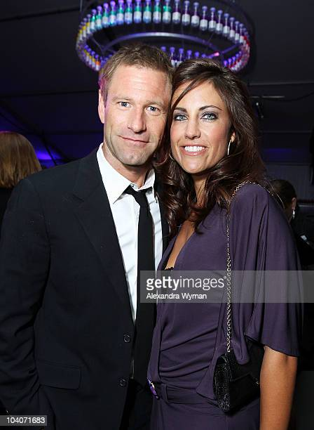 Actor Aaron Eckhart and CAA's Head of Talent Tracy Brennan attend the Rabbit Hole premiere after party at the vitaminwater Backyard during the 2010...