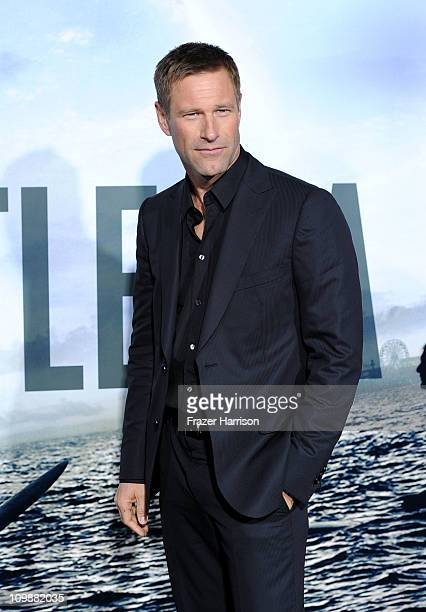 Actor Aaron Eckhart arrives at the premiere of Columbia Pictures' Battle Los Angeles at the Regency Village Theater on March 8 2011 in Westwood...