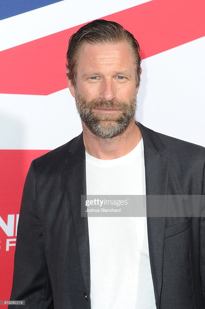 Actor Aaron Eckhart arrives at the premiere of Focus Features' 'London Has Fallen' at ArcLight Cinemas Cinerama Dome on March 1, 2016 in Hollywood, California.